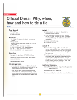 Official Dress:  Why, when, Time Needed: Activity 1 –