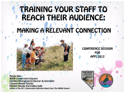 TRAINING YOUR STAFF TO REACH THEIR AUDIENCE:  CONFERENCE SESSION