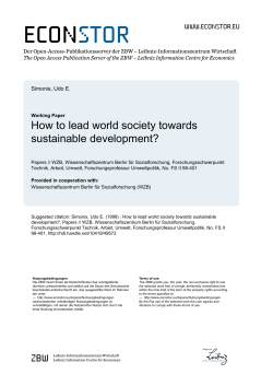 econ stor How to lead world society towards sustainable development?