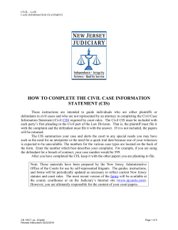 HOW TO COMPLETE THE CIVIL CASE INFORMATION STATEMENT (CIS)