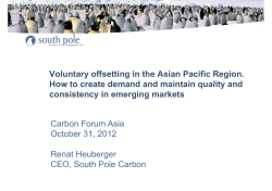 Voluntary offsetting in the Asian Pacific Region.