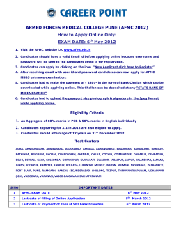 ARMED FORCES MEDICAL COLLEGE PUNE (AFMC 2012) EXAM DATE: 6