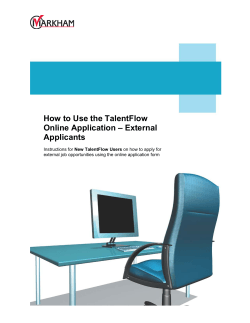 How to Use the TalentFlow Online Application – External Applicants
