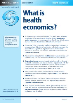 What is health economics? What is...? series