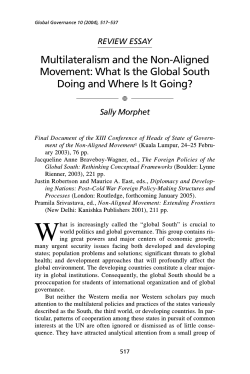 Multilateralism and the Non-Aligned Movement: What Is the Global South REVIEW ESSAY