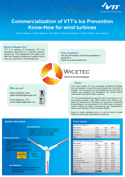Commercialization of VTT's Ice Prevention Know-How for wind turbines