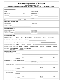 Duke Orthopaedics of Raleigh Patient Registration Form