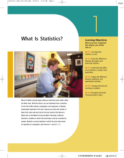 1 What Is Statistics? Goals Learning Objectives