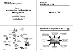 Introduction to Operations What is OM Management 35A00210