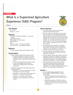What is a Supervised Agriculture Experience (SAE) Program? Time Needed: Interest Approach –