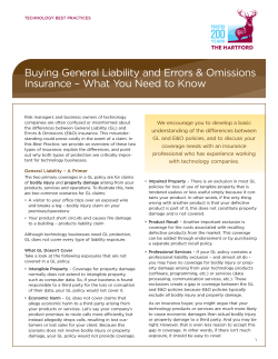 Buying General Liability and Errors & Omissions