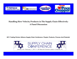 Handling Slow Velocity Products in The Supply Chain Effectively: A Panel Discussion PEPSICO 2011 Trading Partner Alliance Supply Chain Conference: People, Products, Process...