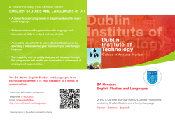 4 ENGLISH STUDIES AND LANGUAGES at DIT