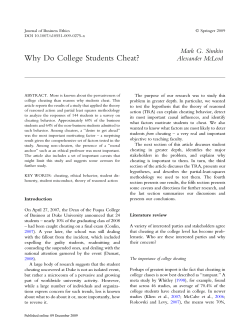 Why Do College Students Cheat? Mark G. Simkin Alexander McLeod