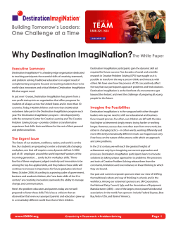 Why Destination ImagiNation? One Challenge at a Time Building Tomorrow's Leaders: