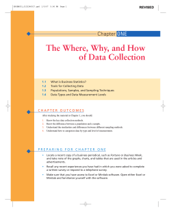 The Where, Why, and How of Data Collection Chapter ONE