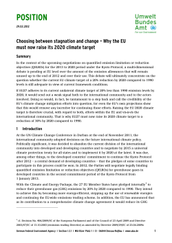POSITION Choosing between stagnation and change – Why the EU Summary