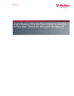 Eight Reasons Why McAfee Enterprise Security White Paper