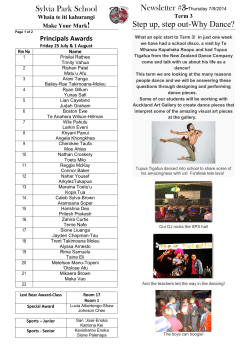 Newsletter #3- Sylvia Park School Step up, step out-Why Dance? !