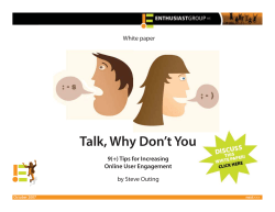 Talk, Why Don't You 9(+) Tips for Increasing Online User Engagement White paper