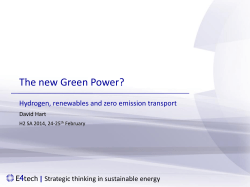 The new Green Power? Hydrogen, renewables and zero emission transport |