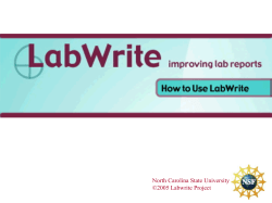North Carolina State University ©2005 Labwrite Project