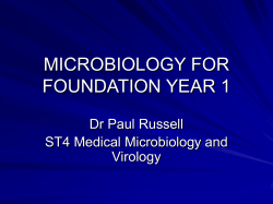 MICROBIOLOGY FOR FOUNDATION YEAR 1 Dr Paul Russell ST4 Medical Microbiology and