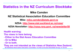 Statistics in the NZ Curriculum Stocktake Mike Camden