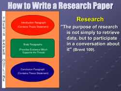 How to Write a Research Paper Research
