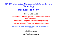 Dr. C. Lee Giles IST 511 Information Management: Information and Technology