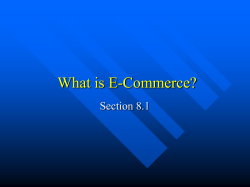 What is E-Commerce? Section 8.1