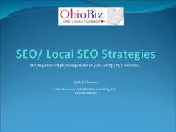 Strategies to improve exposure to your company's website… www.ohiobiz.com