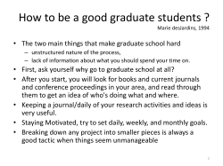 How to be a good graduate students ?