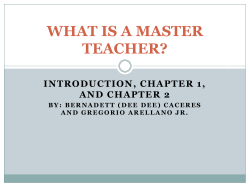 WHAT IS A MASTER TEACHER? INTRODUCTION, CHAPTER 1, AND CHAPTER 2