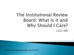 LSSU IRB Faculty Development Day, 8/23/2012