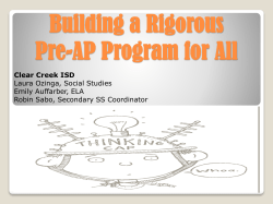 Building a Rigorous Pre-AP Program for All Clear Creek ISD