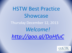 HSTW Best Practice Showcase Welcome!