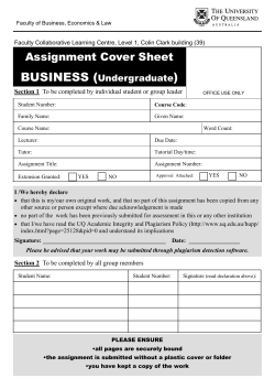 BUSINESS ( ) Assignment Cover Sheet Undergraduate
