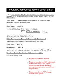 CULTURAL RESOURCES REPORT COVER SHEET