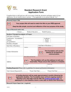 Resident Research Grant Application Form
