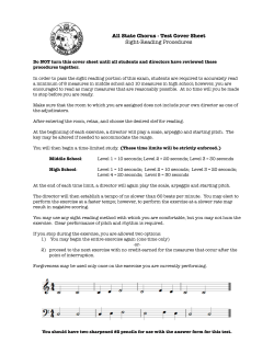All State Chorus - Test Cover Sheet Sight-Reading Procedures