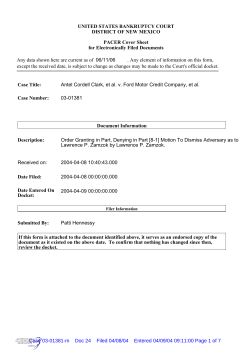 UNITED STATES BANKRUPTCY COURT DISTRICT OF NEW MEXICO PACER Cover Sheet
