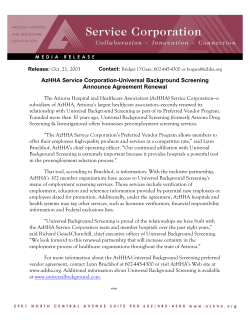 AzHHA Service Corporation-Universal Background Screening Announce Agreement Renewal