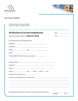 Verification of current employment Fax Cover Sheet Metropolitan