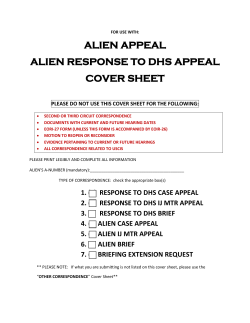 ALIEN APPEAL ALIEN RESPONSE TO DHS APPEAL COVER SHEET