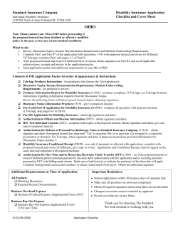 OHIO Standard Insurance Company Disability Insurance Application Checklist and Cover Sheet