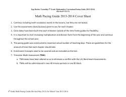 Math Pacing Guide 2013-2014 Cover Sheet