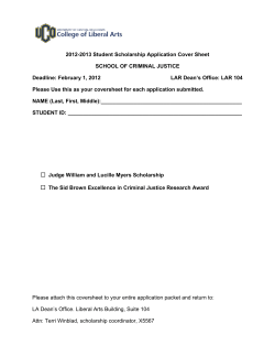 2012-2013 Student Scholarship Application Cover Sheet SCHOOL OF CRIMINAL JUSTICE