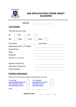 JOB APPLICATION COVER SHEET- ACADEMIC Your Details