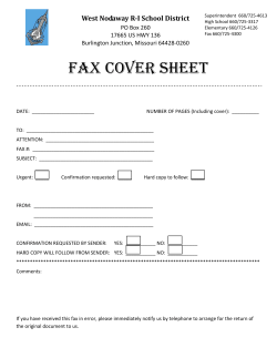 FAX COVER SHEET        West Nodaway R‐I School District